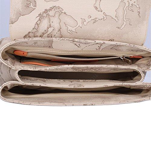 CLASSE chiusura pomello Bag Donna Media Arancione Salmone Leather ALVIERO Cotone Bovine a mano PVC Ninfea The MARTINI Grigio con media Borsa 1 7PqwEPC