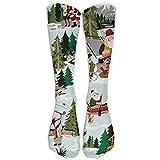 XIdan-die Casual Athletic Socks Christmas Time Santa Mountain Lake Over-The-Calf Socks For Women Men