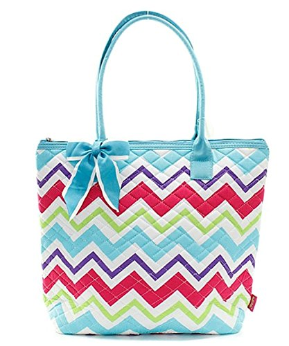 (Ngil Quilted Cotton Owl Medium Tote Bag II (Chevron Pastel Aqua) )