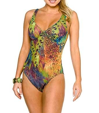 Kiniki Amalfi Tan Through Support Top Swimsuit Womens Swimwear Green 6, Green