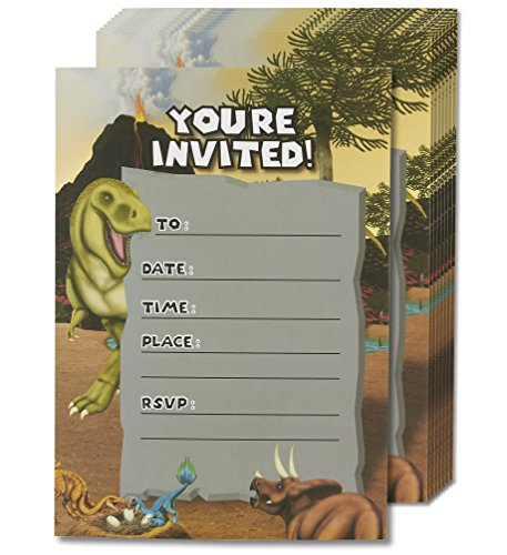 Dinosaur Invitation Cards - 24 Fill-in Invites with Envelopes for Kids Birthday and Theme Party, 5 x 7 Inches, Postcard Style -