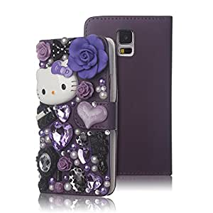 FiveLimit(TM) 3D Bling Crystal Rhinestone Pearl Love Fairy-Kitty Design Diamond Flip Leather Wallet Case Cover For Samsung Galaxy S5 / i9600 [2014 Model] (Package Inlcude: 1 X FiveLimit(TM) Screen Protector) (Purple)