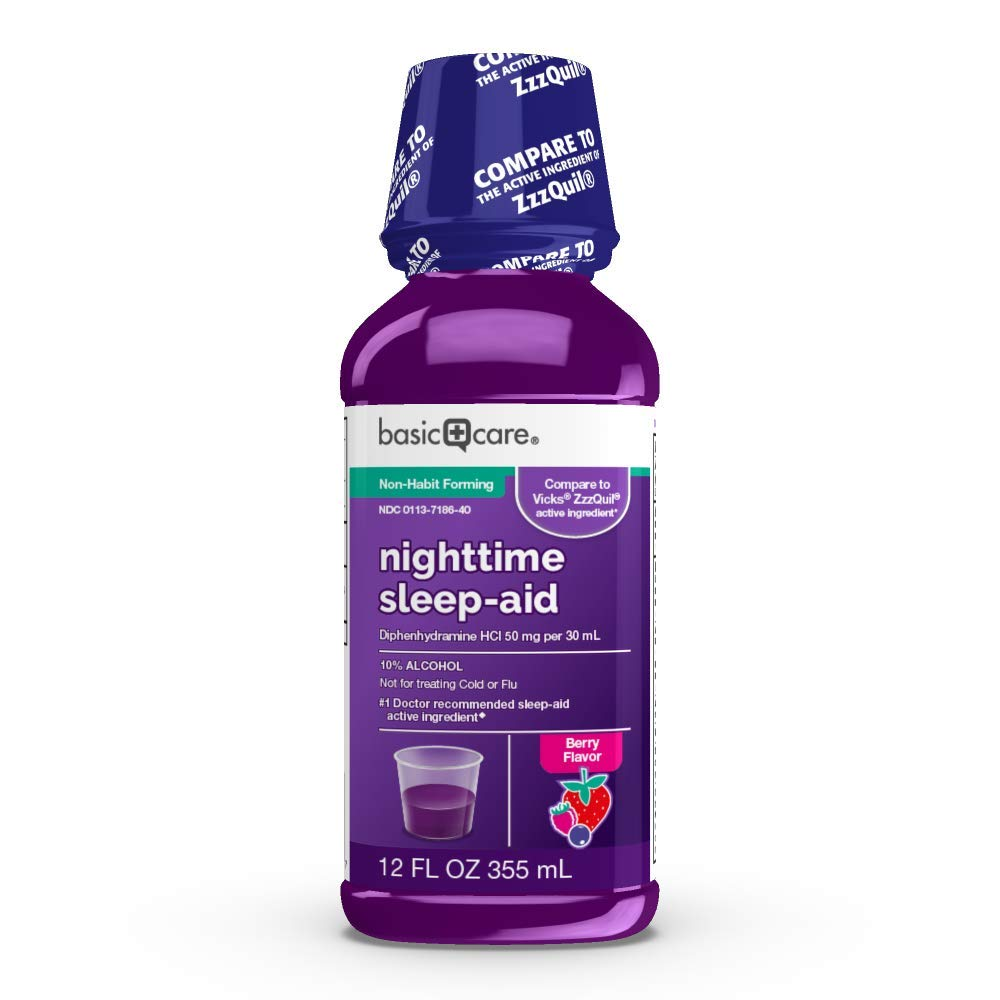 Amazon Basic Care Night Time Sleep Aid Liquid, Helps You Fall Asleep, Relieves Occasional Sleeplessness, 12 Fluid Ounces