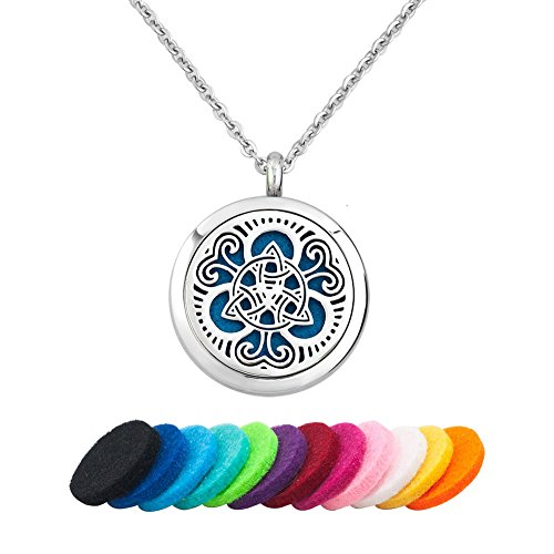 Third Time Charm Celtic Knot Essential Oil Diffuser Necklace Aromatherapy Jewelry Locket, 12 Refill Pads