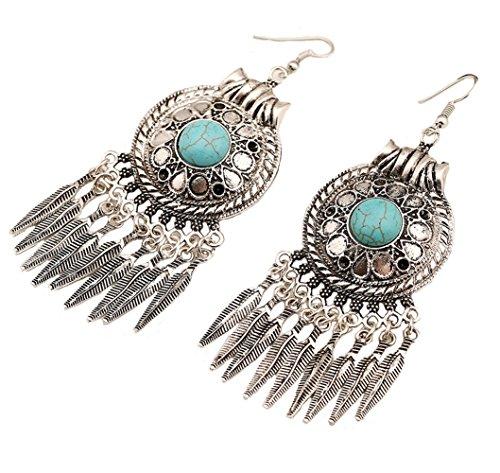 eather Leaves Tassel Turquoise Earrings - Indian Drop Earrings Wedding For Women Ancient Silver ()