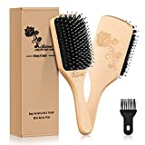 Hair Brush-[Upgraded] Natural Boar Bristle Hairbrush with Cleaner Tool for Women Men Long Thick Thin Fine Curly Dry Wet All Hair Types,Best Paddle Brush for Reducing Hair Breakage,Adding Shine