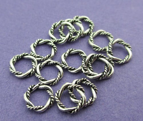 New 6mm x 1.5mm 925 Sterling Silver Twisted Rope Open Jump Rings Bails 10pcs