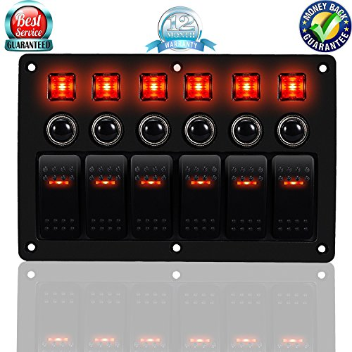 DCFlat 3 Pin 6 Gang LED Breaker Waterproof Rocker Switch Panel Overload Protection for RV Car ()