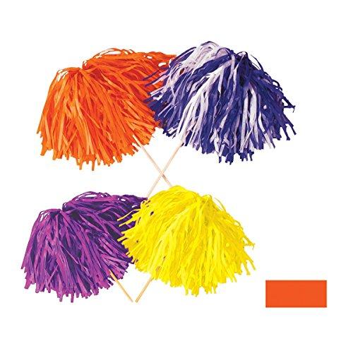 Club Pack of 144 Orange Football Themed Pom Pom Tissue Shakers 16