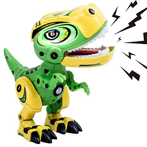 GILOBABY Dinosaur Toys for Kids, Alloy Metal Mini Tyrannosaurus Rex Dinosaur with Lights and Sounds, Flexible Body, Gift for Boys Age 3+ (Green) -