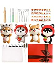 Needle Felting Starter Kit, Needle Felting Kit for Beginners with 6 Pcs Colorful Needle Felting Needles and Instructions, Wool Felting Supplies for Christmas, Children's Day, Other Festival and Crafts