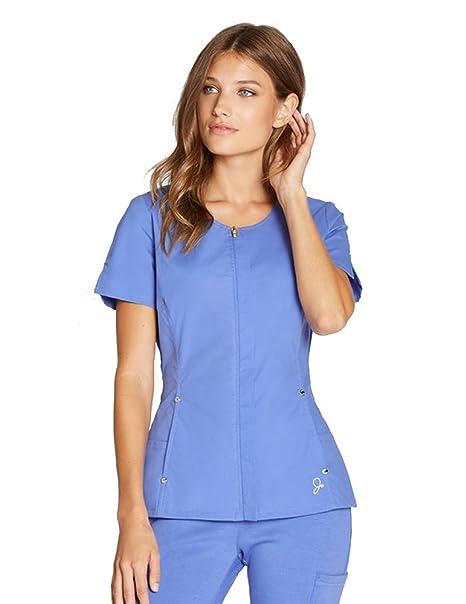 918568f9465 Jaanuu Woman's Hidden Zipper Top Scrub Shirt: Amazon.ca: Clothing ...