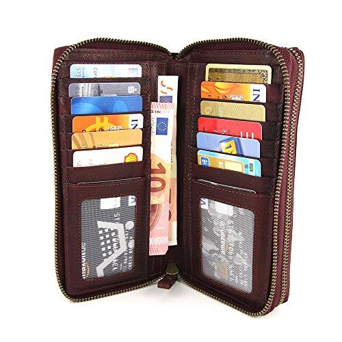 Equipaje Crédito Interior De Gran Mujer Cremallera Marrón Rojo Doble Con Tarjeteros es Muchos Amazon Para Cartera Tarjetas wq4q1TOU