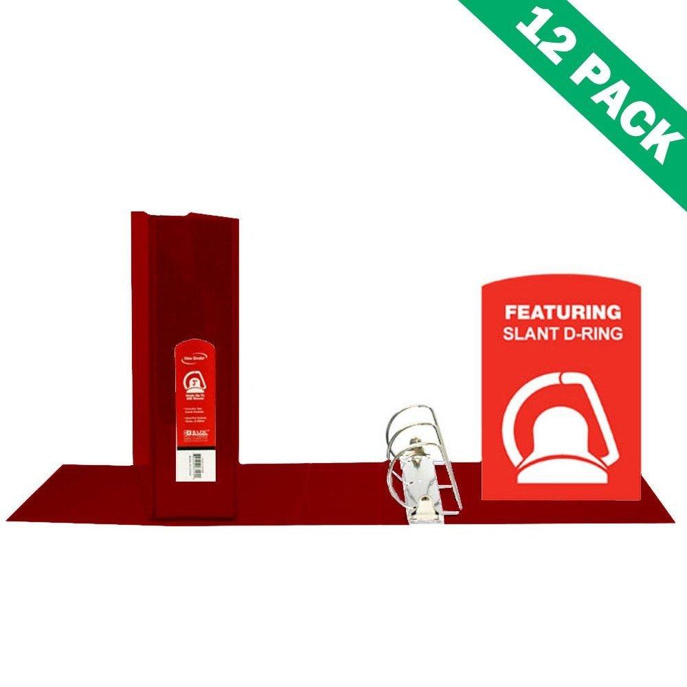 3 Inch Binder, School Office Burgundy Pocket Binder 3 Ring - Case Of 12