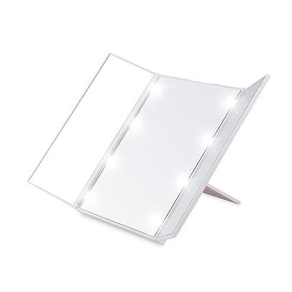 Desktop Foldable LED Makeup Mirror   Lighted Vanity Mirror  Tri Fold  Cordless Make Up