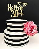 Gold Glitter Birthday Cake Topper - Hello 30