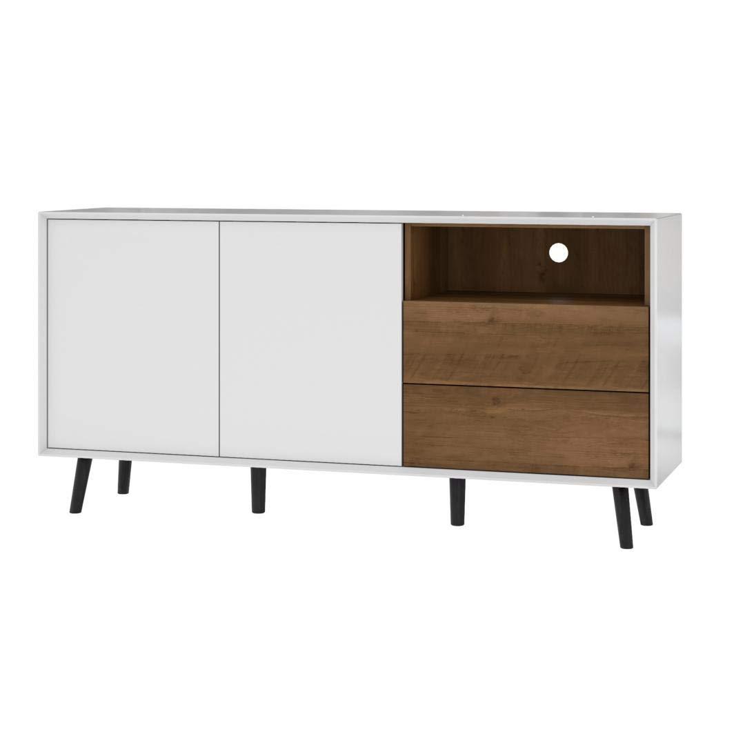 Bestar 102163-000001 Alga Sideboard, White & Walnut Brown