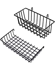 GBYAN Wall Grid Baskets Wire Straight Shelf Hanging Flower Pot Display Wire Metal for Grid Panel, 2 Pack (black)