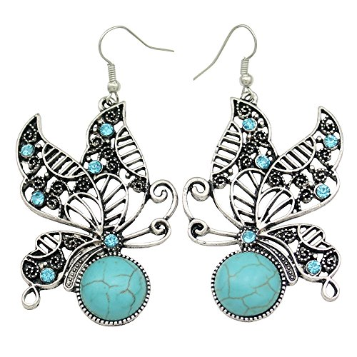 [Vintage Silver Filigree Butterfly Turquoise Crystal Costume Aztec Dangle Earrings] (Fashion Bloggers Halloween Costumes)