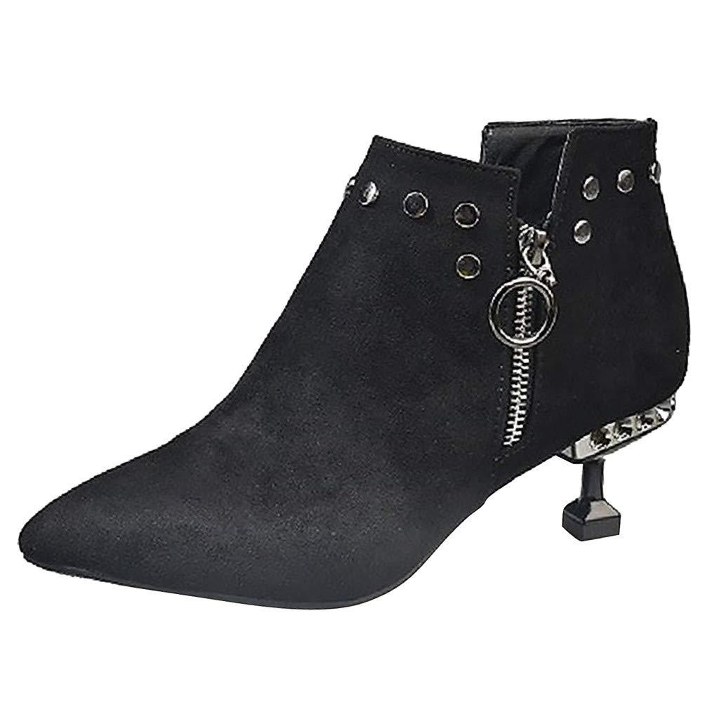 Peize Women's Leather Ankle Boots Low Heels Shoes Zipper Winter Booties losed Pointed Toe Low Kitten Heel Ankle Bootie Black