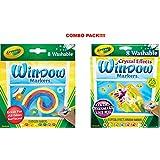 Crayola 8 Count Washable Window Markers (Washable Window Markers x Markers with Crystal Effects)