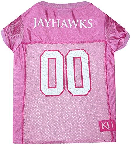 Jersey State University Kansas - Pets First Collegiate University of Kansas Jayhawks Dog Jersey, Large, Pink
