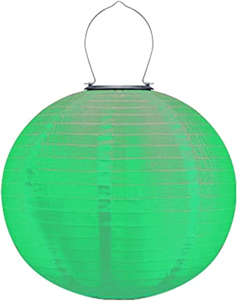 Linternas chinas de 12 pulgadas Impermeable Linterna solar para jardín Linternas solares plegables al aire libre Decoración de jardín colgante (verde) ||| Tela de nylon: Amazon.es: Iluminación