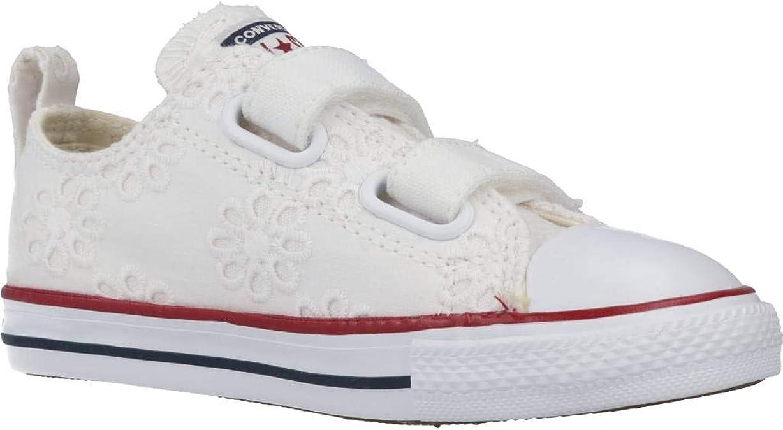 Converse Chuck Taylor All Star 2V Broaderie Anglias Ox Blanc//Grenat Textile B/éb/é Formateurs Chaussures