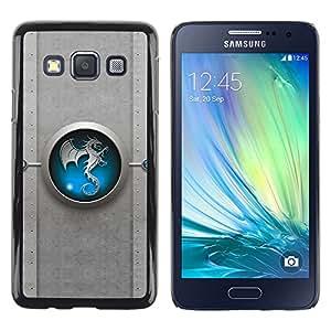 Blue Tribal Dragon Yin yang - Metal de aluminio y de plástico duro Caja del teléfono - Negro - Samsung Galaxy A3 / SM-A300