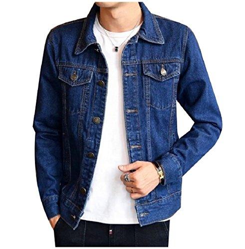 Slim Button Men Turn Blue Pocket Jean Collar Howme Down Fit Dark Front Coat Sq5xawwCR
