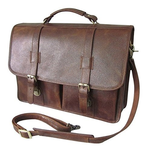 Flapover Business Type DSOS Brown Leather Professor Briefcase Locking Briefcase Leather Shoulder Strap Carrying Handle