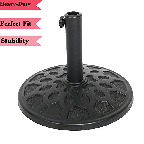 Lucky Tree 17-Inch Patio Umbrella Stand Outdoor Base Holder Heavy Duty Rust Proof Composite Materials, 17.6lbs by Lucky Tree