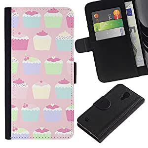 KingStore / Leather Etui en cuir / Samsung Galaxy S4 IV I9500 / Pastel Paining Colorful