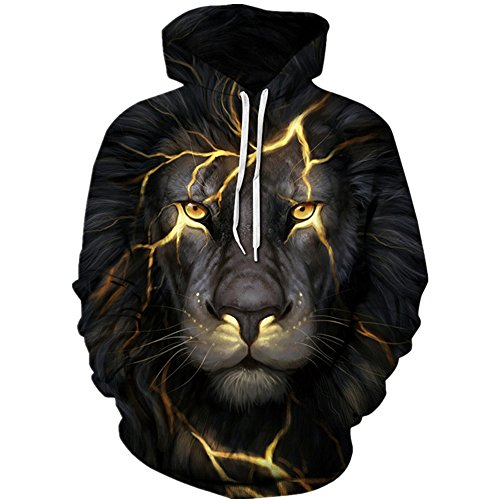 Hycsen 3D Hoodies Lion 3D Printed Sweatshirt Snow Lion Hoodies Sweatshirt