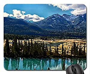Bow River Mouse Pad, Mousepad (Rivers Mouse Pad, Watercolor style)