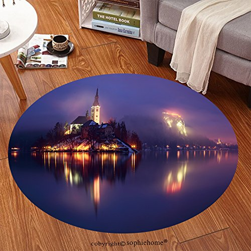 et 239693887 End of day at the lake Bled in winter, Slovenia, Europe Anti-skid Carpet Round 79 inches (Days End Glider Chair)