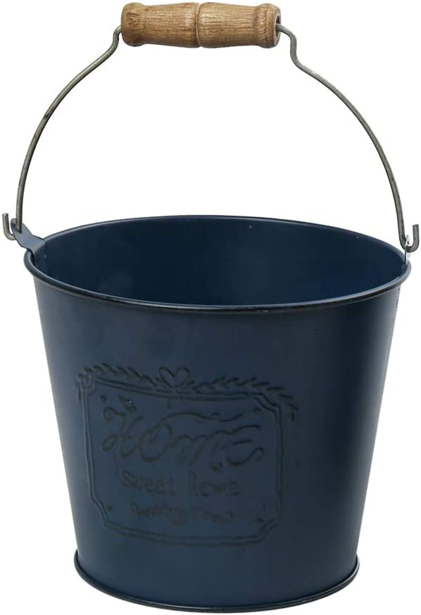 "WHHOME Small Shabby Chic Metal Decorative Vase Cute Rustic Bucket Flower Holder, Home Office Decor, 4.1"" H (Blue)"
