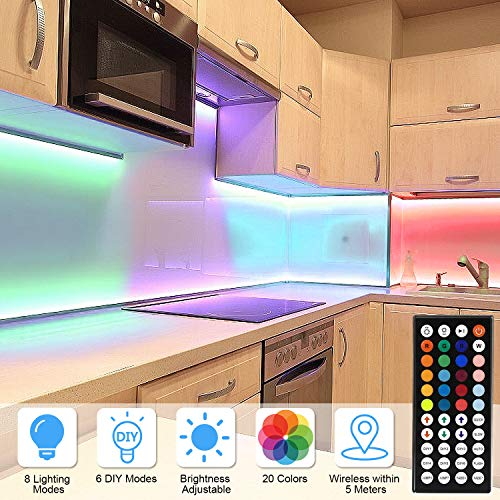 AveyLum 10M LED Strip Light RGB Flexible Rope Lights 5050 SMD 300 LEDs Non Waterproof IP20 DreamColor Tape Light with 44 Keys Wireless Controller and 24V Power Adapter for Home Kitchen Party TV Deco
