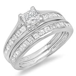 2.00 Carat (ctw) 14K White Gold Princess Cut Diamond Bridal Engagement Ring With Matching Band Set 2 CT