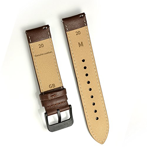 LEUNGLIK 20mm Watch Band Quick Release Leather Watch Bands with Black Stainless Pins Clasp -Brown by LEUNGLIK (Image #3)