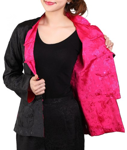 Bitablue Womens Rayon-blend Reversible Chinese Shirt (Black/Fuchsia, (Chinese Womens Jacket)