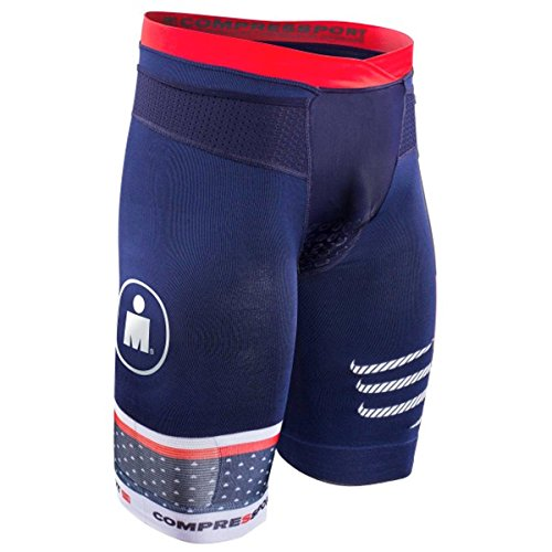 Compressport Men's Ironman 2017 TR3 Brutal Triathlon Short - SHTRIV2-IM17 (Blue - - Clothing Triathlon Men