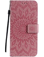 Cfrau Kickstand Wallet Case with Black Stylus for Samsung Galaxy S21 Ultra 5G,Retro Mandala Sunflower PU Leather Magnetic Flip Folio Stand Soft Silicone Card Slots Case with Wrist Strap - Pink