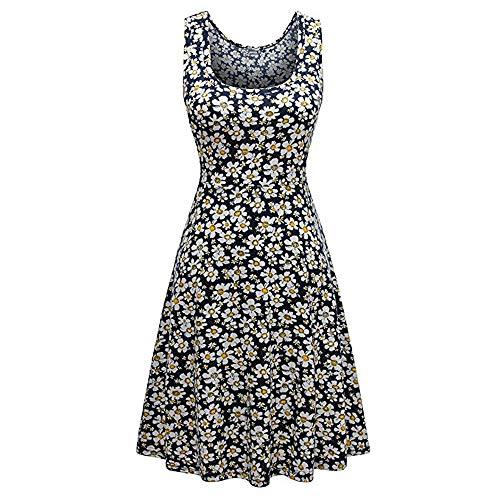 (iLUGU Boat Collar Sleeveless Knee-Length Dress For Women Small Daisy Print A-Line Knit)