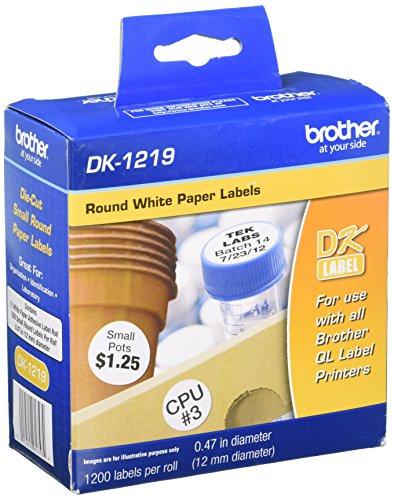 Brother DK1219 12mm Round Die-Cut Paper Label