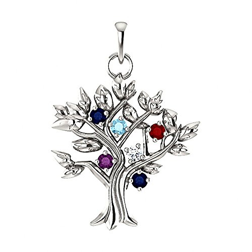 6 Stone Your Tree of Life Pendant Necklace Custom Made for Your Family, 14K White Gold -