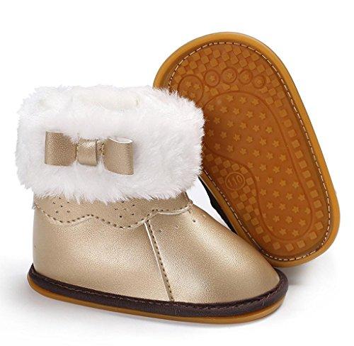 Covermason Baby Mädchen Jungen weiche Sohle Kleinkind Schuhe Krippe Schuhe Baumwolle Schneestiefel Gold C