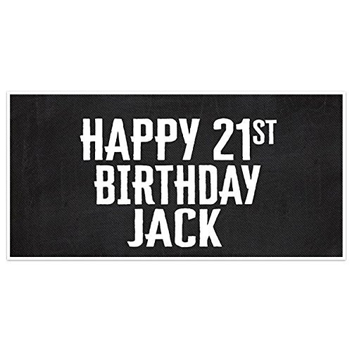 Chalkboard Happy 21st Birthday Banner Personalized Custom Party Backdrop Decoration