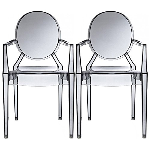 2xhome – Set of Two (2) - Smoke - Modern Ghost Chair Armchair With Arm Polycarbonate Plastic Smoke - Ghost Louis Arm Chair