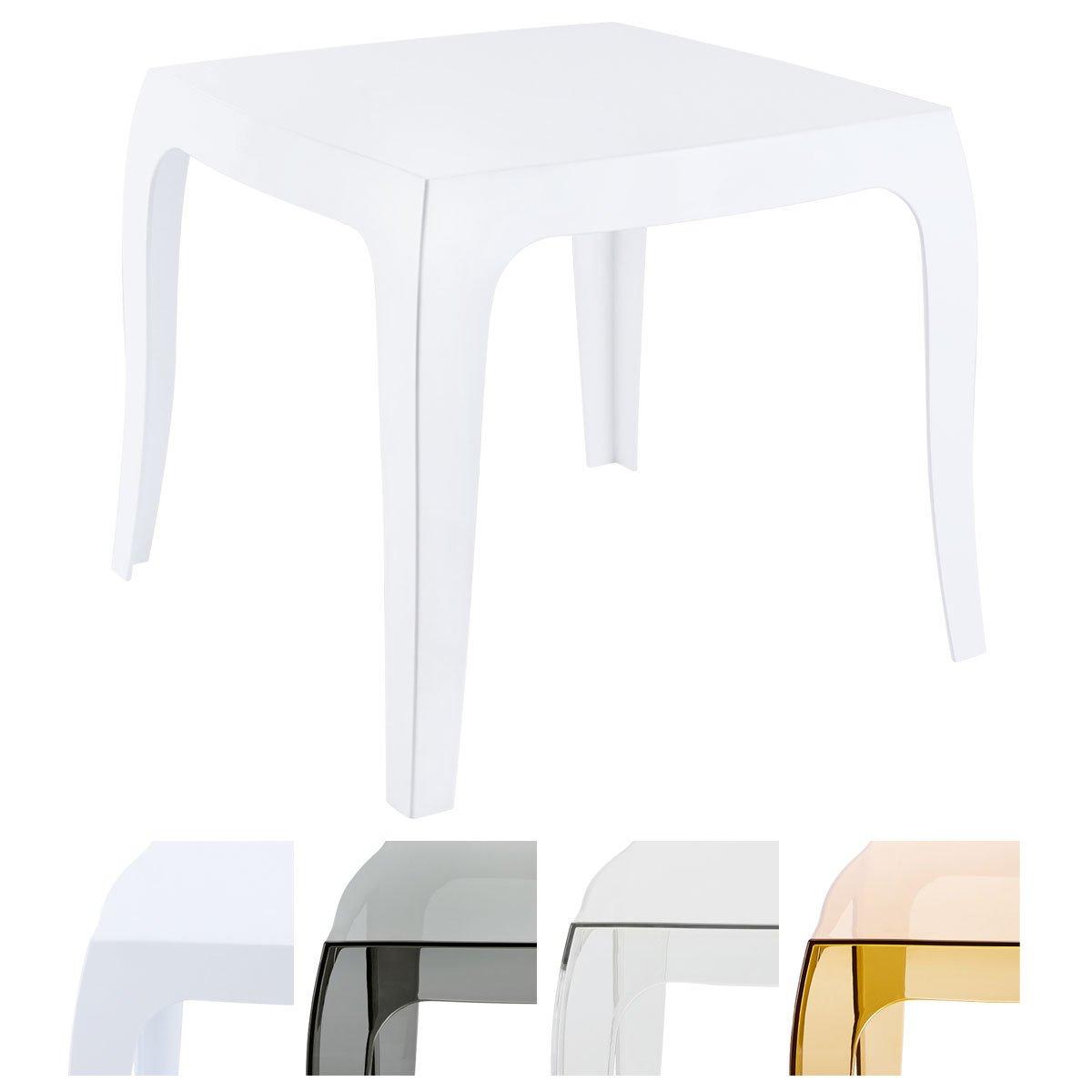 Blanc Brillant CLP Table Design Queen en Plastique I Table dAppoint Carr/ée Table dExt/érieur Empilable et R/ésistante aux Intemp/éries I Couleur